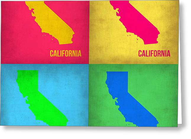 California Pop Art Map 1 Greeting Card by Naxart Studio