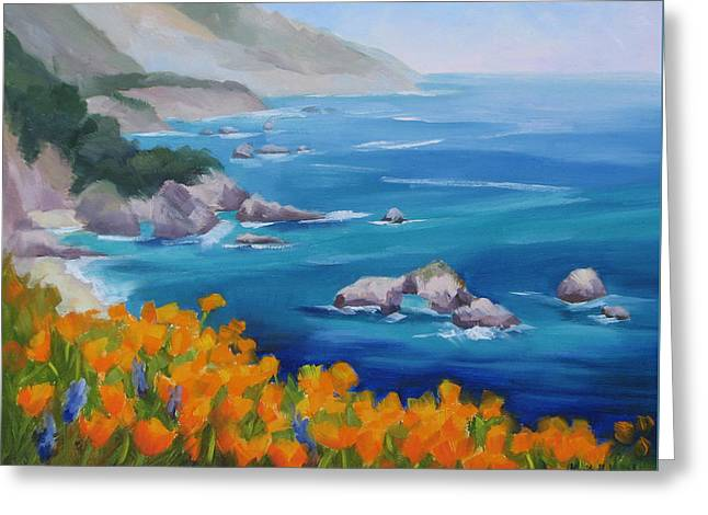 California Poppies Big Sur Greeting Card by Karin  Leonard