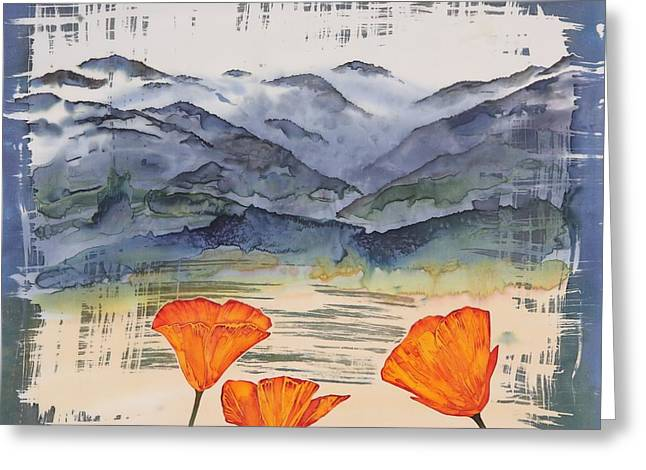 Orange Tapestries - Textiles Greeting Cards - California Poppies Greeting Card by Carolyn Doe