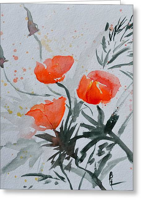Bht Greeting Cards - California Poppies Sumi-e Greeting Card by Beverley Harper Tinsley