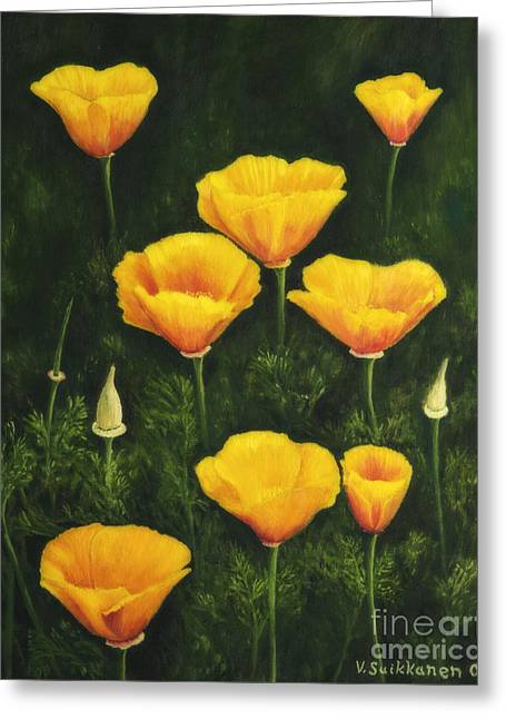 Salo Greeting Cards - California poppy Greeting Card by Veikko Suikkanen