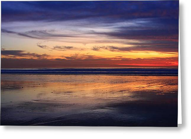 California Ocean Photography Greeting Cards - Cardiff Twilight Reflections Greeting Card by John Tsumas