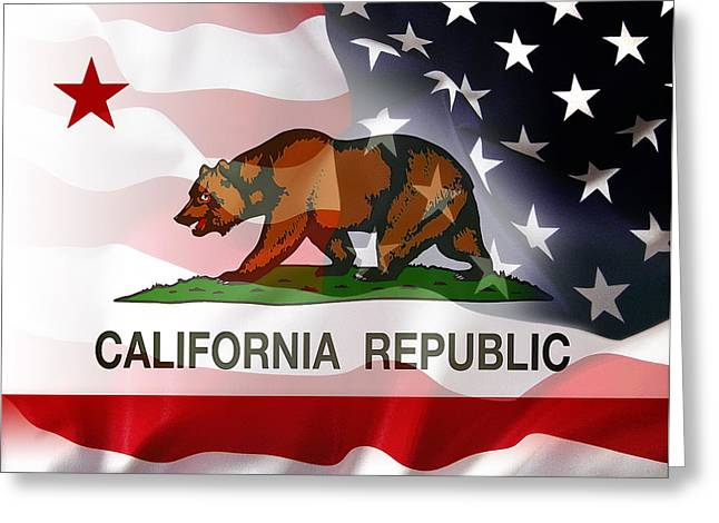 California Agriculture Greeting Cards - California Republic Within The United States Greeting Card by Daniel Hagerman