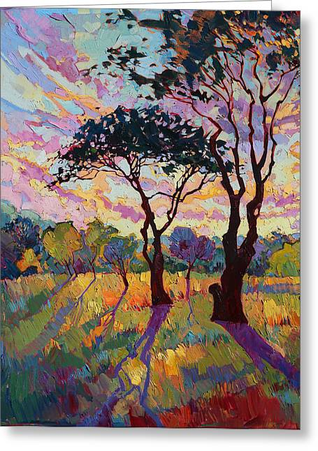Oak Tree Paintings Greeting Cards - California Sky Quadtych - Lower Left Panel Greeting Card by Erin Hanson