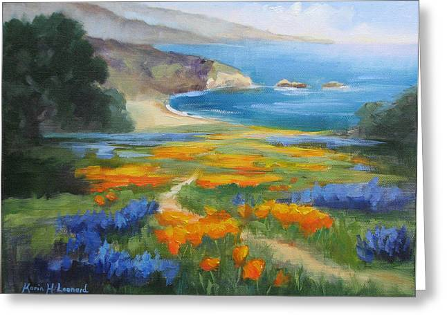 Big Sur California Greeting Cards - California Spring Big Sur Coast Greeting Card by Karin  Leonard