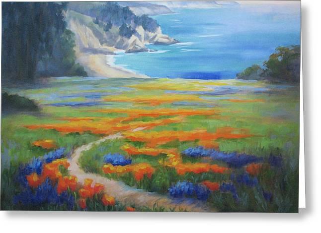 Big Sur Paintings Greeting Cards - California Spring Big Sur Greeting Card by Karin  Leonard
