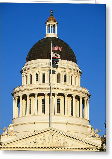 American Flag Photography Greeting Cards - California State Capitol Building Greeting Card by Panoramic Images