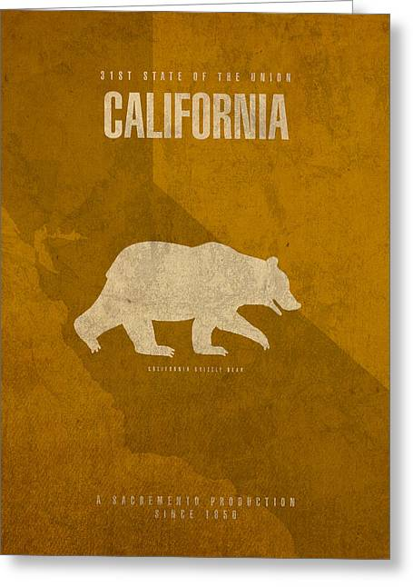 California Art Greeting Cards - California State Facts Minimalist Movie Poster Art  Greeting Card by Design Turnpike