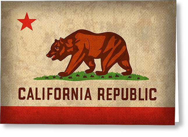 Wear Greeting Cards - California State Flag Art on Worn Canvas Greeting Card by Design Turnpike