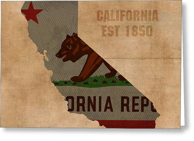 Background Mixed Media Greeting Cards - California State Flag Map Outline With Founding Date on Worn Parchment Background Greeting Card by Design Turnpike