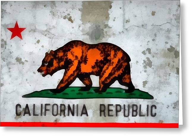 San Francisco Cali Greeting Cards - California State Flag Weathered And Worn Greeting Card by Dan Sproul