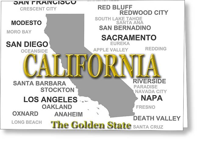 Crescent City Greeting Cards - California State Pride Map Silhouette  Greeting Card by Keith Webber Jr