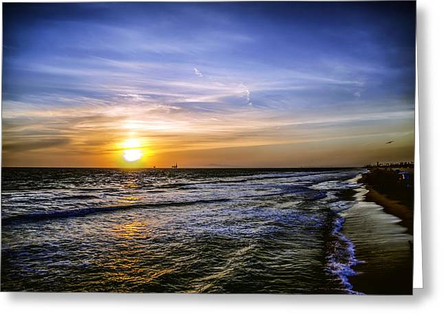 Recently Sold -  - Surf City Greeting Cards - California Sunset Greeting Card by Spencer McDonald