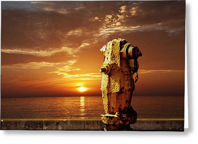 Larry Butterworth Greeting Cards - California Sunset With Fire Hydrant Greeting Card by Larry Butterworth
