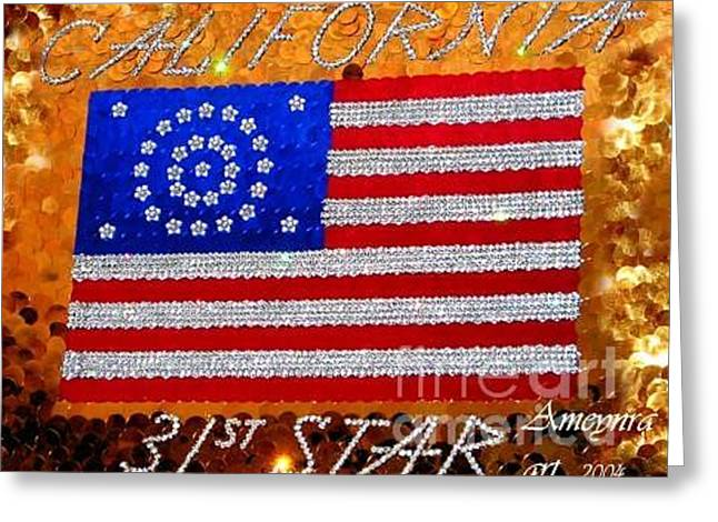 Golden Jewelry Greeting Cards - California the 31st star. American flag crystal beads Greeting Card by Sofia Metal Queen