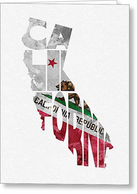Homeland Greeting Cards - California Typographic Map Flag Greeting Card by Ayse Deniz