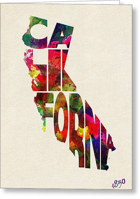 Homeland Greeting Cards - California Typographic Watercolor Map Greeting Card by Ayse Deniz