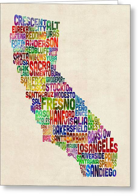 Texting Greeting Cards - California Typography Text Map Greeting Card by Michael Tompsett