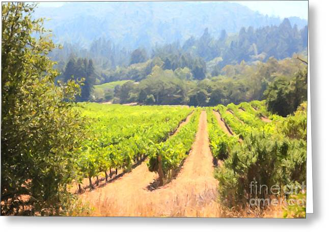 Fruit And Wine Digital Greeting Cards - California Vineyard Wine Country 5D24515 Greeting Card by Wingsdomain Art and Photography