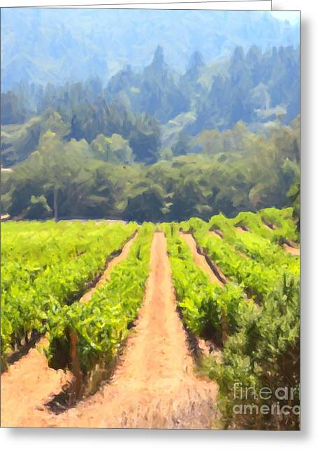 Fruit And Wine Digital Greeting Cards - California Vineyard Wine Country 5D24518 vertical Greeting Card by Wingsdomain Art and Photography