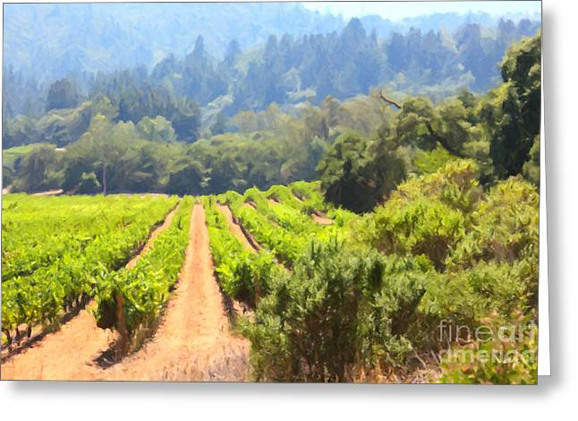 Fruit And Wine Digital Greeting Cards - California Vineyard Wine Country 5D24518 Greeting Card by Wingsdomain Art and Photography