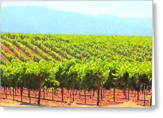 Wine Grapes Digital Art Greeting Cards - California Vineyard Wine Country 5D24623 long Greeting Card by Wingsdomain Art and Photography