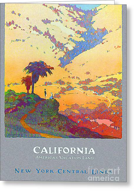 Culture Drawings Greeting Cards - California Vintage Travel Poster Greeting Card by Jon Neidert