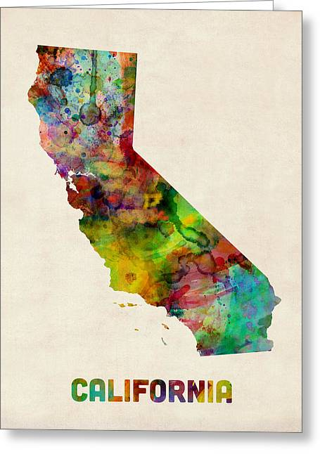 West Coast Greeting Cards - California Watercolor Map Greeting Card by Michael Tompsett