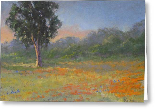 Evening Lights Pastels Greeting Cards - California Wildflowers Greeting Card by Elaine Koehler