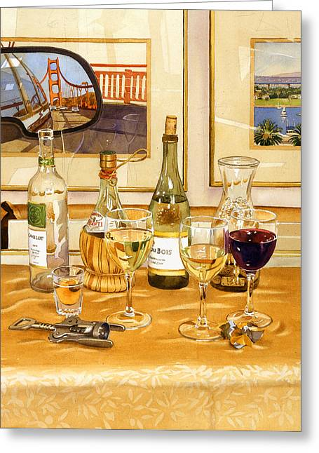 Bay Bridge Greeting Cards - California Wine and Watercolors Greeting Card by Mary Helmreich