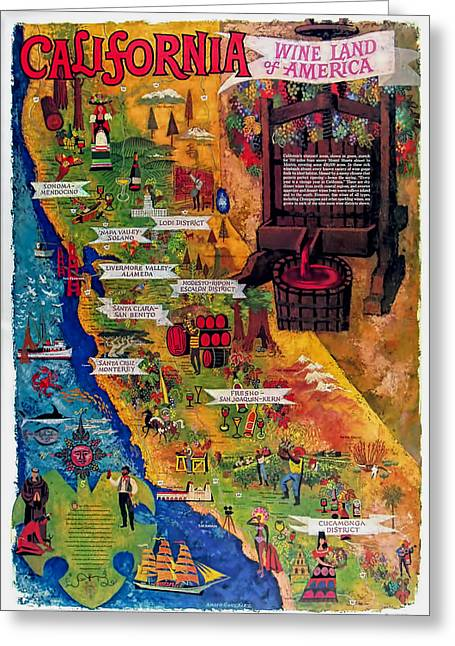Basement Greeting Cards - California Wine Map Greeting Card by Nomad Art And  Design