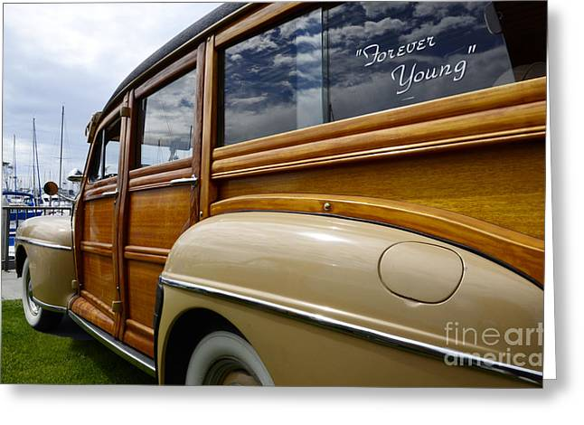 Woe Greeting Cards - California Woodie Forever Young Greeting Card by Bob Christopher