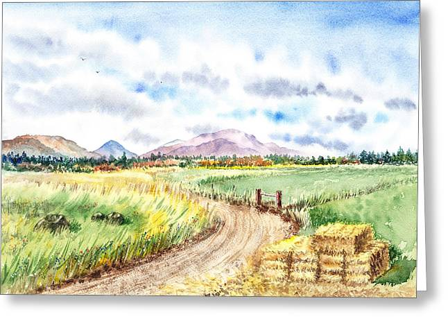 Fall Grass Paintings Greeting Cards - Californian Landscape Saint Johns Ranch of Mountain Shasta County Greeting Card by Irina Sztukowski