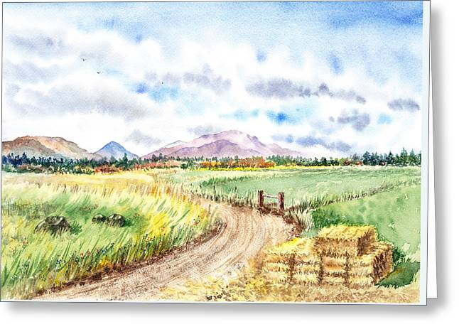 Road Trip Paintings Greeting Cards - Californian Landscape Saint Johns Ranch of Mountain Shasta County Greeting Card by Irina Sztukowski