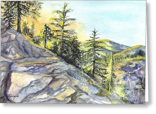 Moss Green Drawings Greeting Cards - Californias Sierras Greeting Card by Carol Wisniewski
