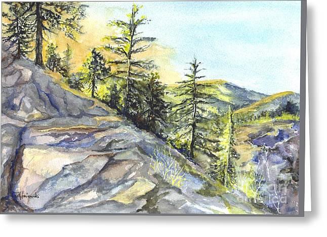 Sunset Framed Prints Drawings Greeting Cards - Californias Sierras Greeting Card by Carol Wisniewski