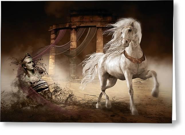 Royalty Greeting Cards - Caligulas Horse Greeting Card by Shanina Conway