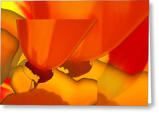 Abstract California Poppies Greeting Cards - Calipoppies Abstract Greeting Card by Lyn  Perry