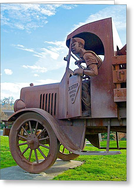Calistoga Digital Art Greeting Cards - Calistoga Natural Beverages Truck Sculpture in Napa Valleys Calistoga-CA  Greeting Card by Ruth Hager