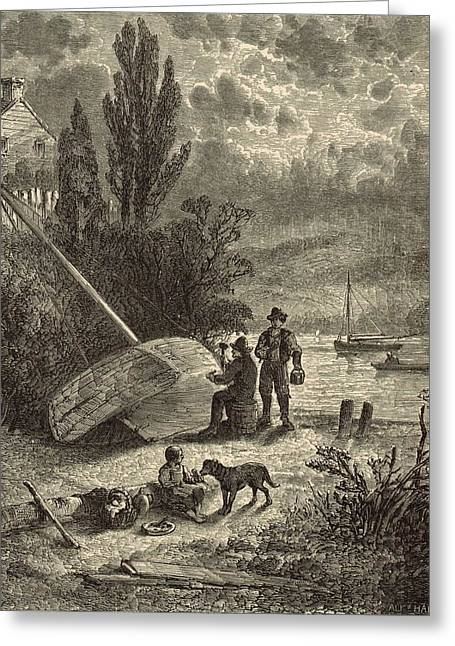 Atlantic Beaches Drawings Greeting Cards - Calking on the Neversink 1872 Engraving Greeting Card by Antique Engravings