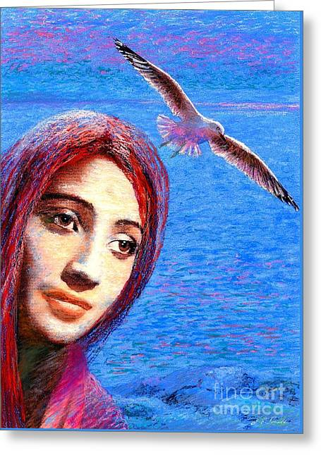 Angel Mermaids Ocean Greeting Cards - Call of the Deep Greeting Card by Jane Small
