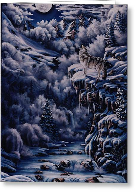 Wolf Creek Paintings Greeting Cards - Call to the Spirits Greeting Card by Lori Salisbury