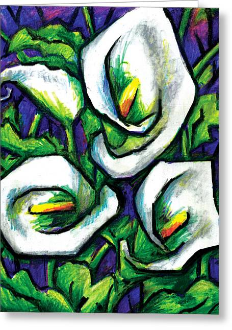 Calla Lily Mixed Media Greeting Cards - Calla Lilies Greeting Card by Allison Rogers