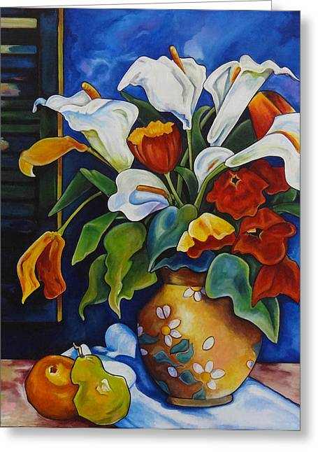 Thome Greeting Cards - Calla Lilies and Poppies Greeting Card by Transcend Designs