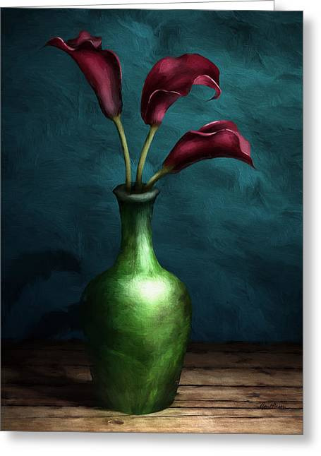 Burgundy Digital Art Greeting Cards - Calla Lilies I Greeting Card by April Moen