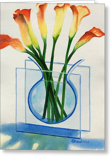 Salmon Paintings Greeting Cards - Calla Lilies Greeting Card by Kathy Braud