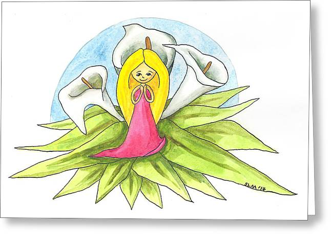 Flower Pink Fairy Child Greeting Cards - Calla Lily Girl Greeting Card by Sorsha Morris