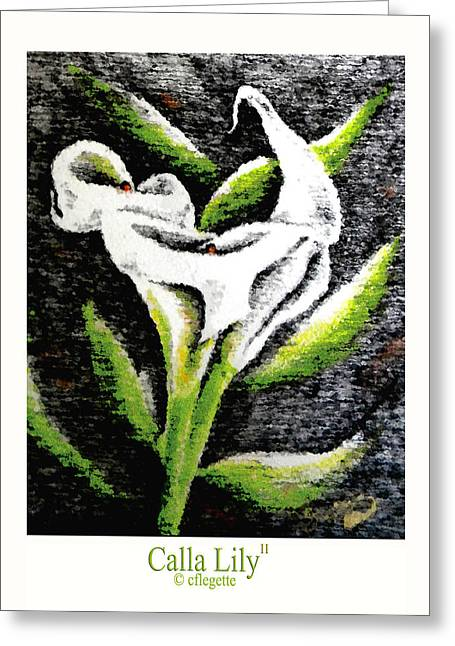 Calla Lily Drawings Greeting Cards - Calla Lily II Greeting Card by C F  Legette