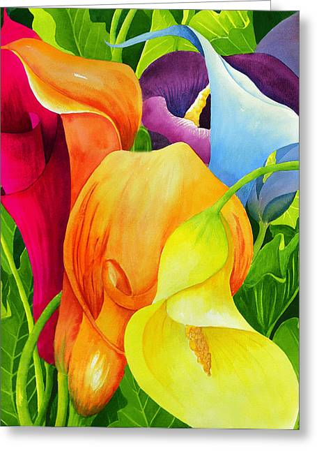 Leaves Paintings Greeting Cards - Calla Lily Rainbow Greeting Card by Janis Grau