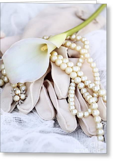 Recently Sold -  - White Cloth Greeting Cards - Calla Lily with Pearls Greeting Card by Stephanie Frey